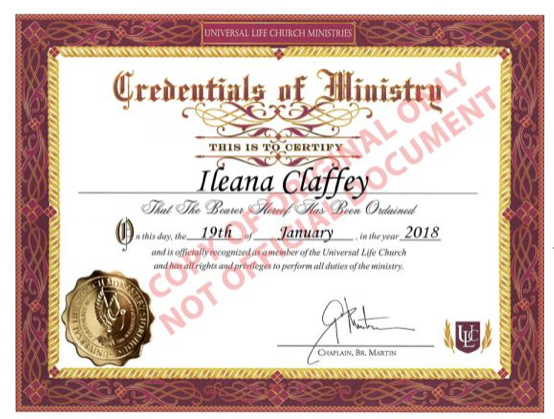 I am ordained with the Universal Life Church for spiritual energy work like Reiki. The ULC is non-religious, welcoming all backgrounds and belief systems.